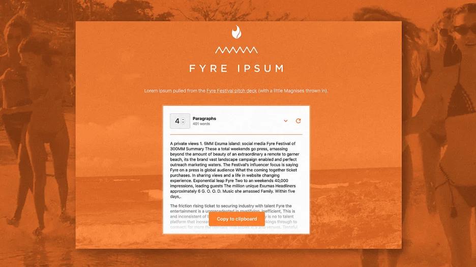 The Fyre Festival's terrible pitch deck is now lorem ipsum